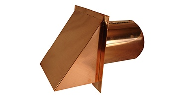 High quality copper wall exhaust vents, copper roof vents and eave vents. Options for dampers and screen. Wall vent covers, hoods, caps